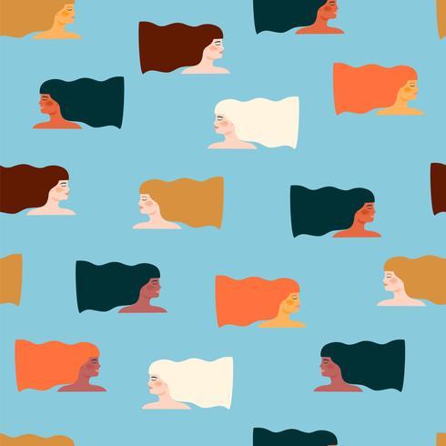 Dia Internacional da Mulher. Padrão sem emenda de vetor com mulheres diferentes.
