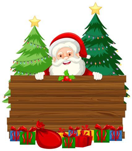 Papai Noel na frente do banner de madeira em branco vetor