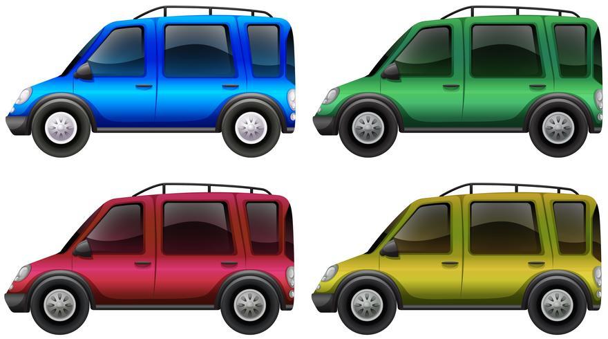 Carros em quatro cores diferentes vetor