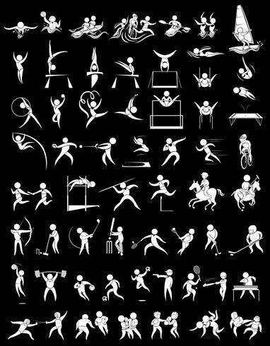 Ícones do esporte para muitos esportes vetor