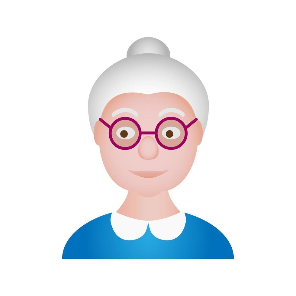 retrato de personagem de desenho animado de vetor avó velha