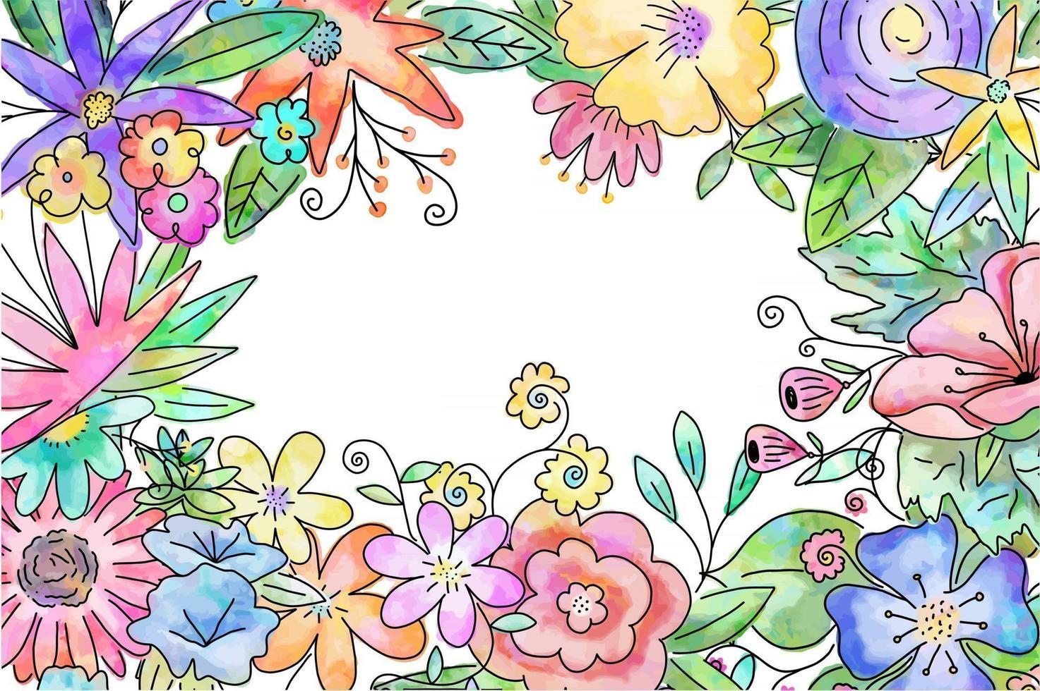 quadro floral aquarela bonito decorativo vetor