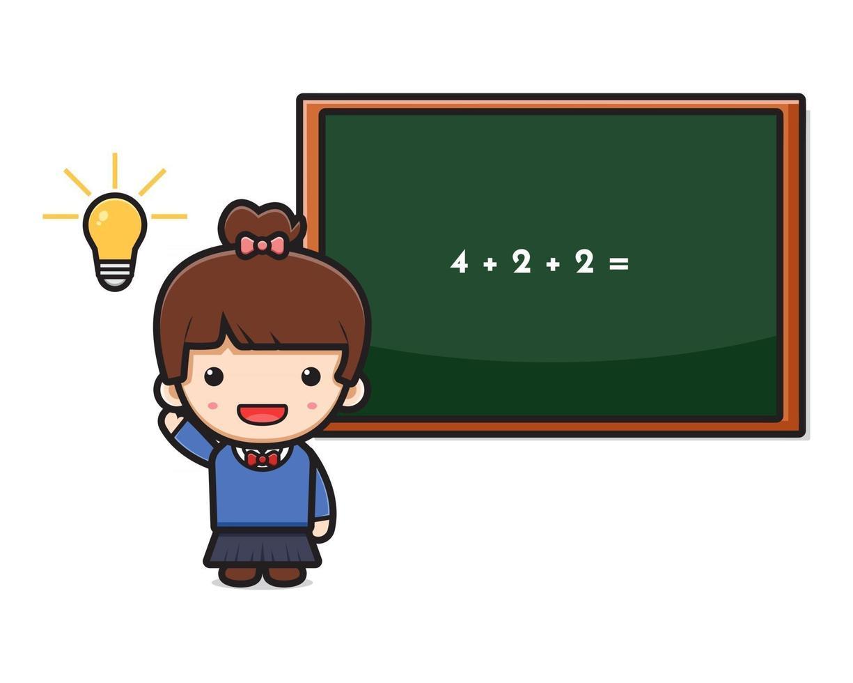 ilustração em vetor ícone desenho animado linda garota estudante