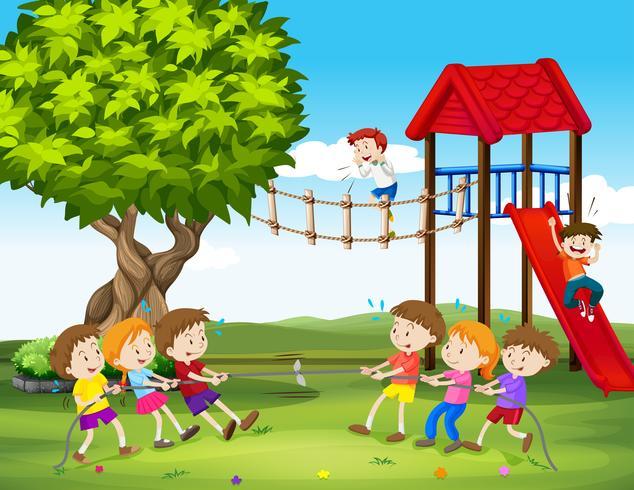 Crianças, tocando, puxão guerra, em, a, pátio recreio vetor