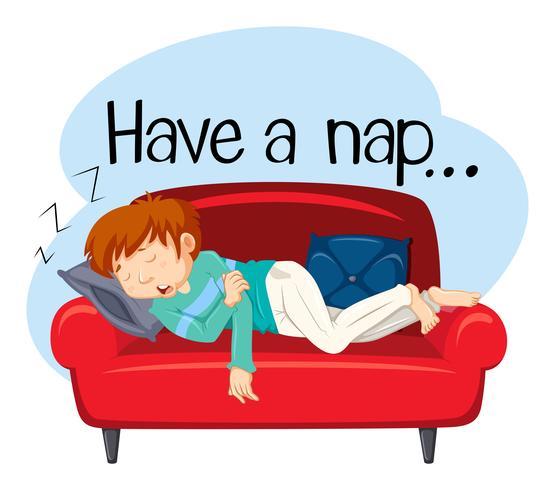 Um jovem tendo uma soneca no sofá vetor