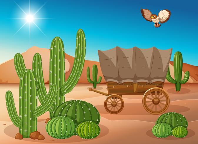 Cena do deserto com carroça e cacto vetor