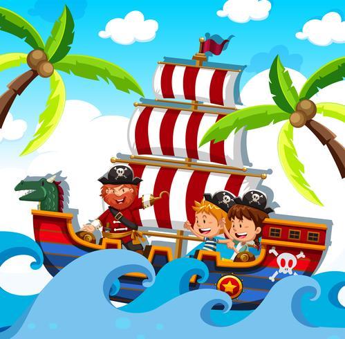 Um pirata com crianças felizes no navio vetor