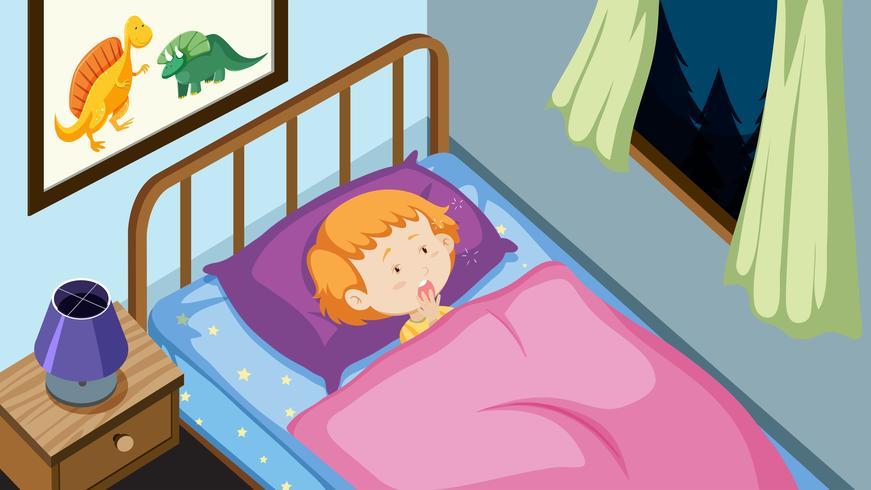 Menino jovem, em, seu, cama vetor