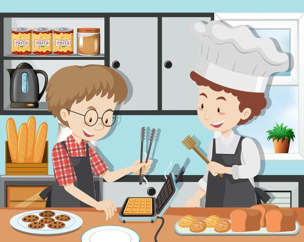 Uma aula de culinária com Chef Professinal vetor