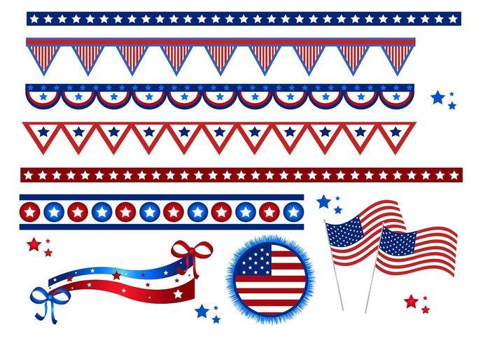 4º pacote de vetores de julho e bandeiras