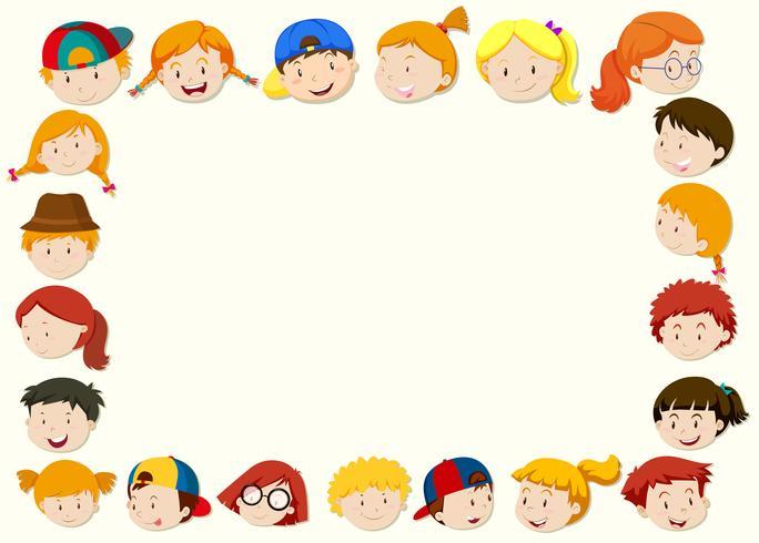 Modelo de fronteira com cara de crianças felizes vetor