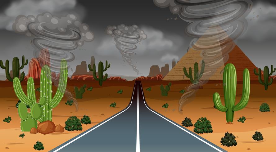 Cena de chuva do deserto de tornado vetor