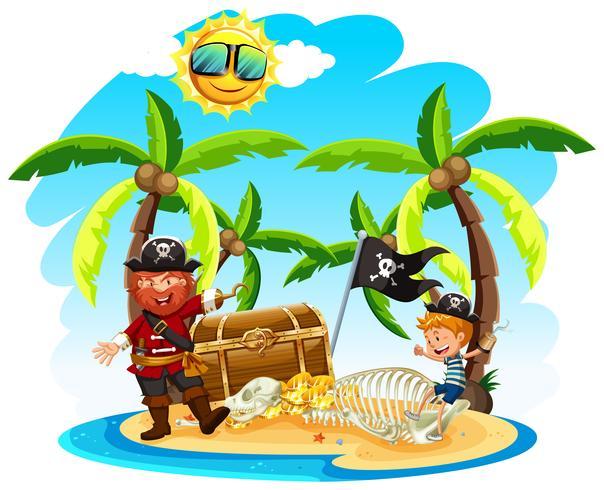 Pirata e um menino na ilha vetor