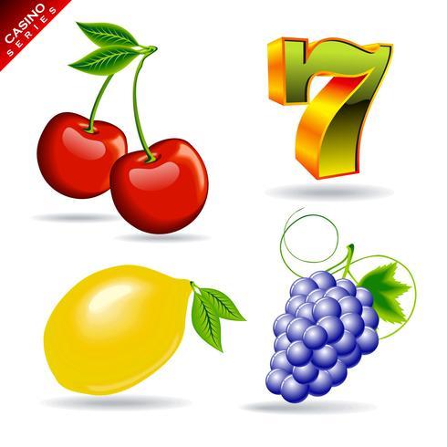série de cassino com cereja, sete símbolo, limão e uva. vetor
