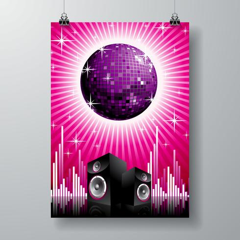 ilustração vetorial para tema musical com alto-falantes e bola de discoteca no espaço de texto. vetor