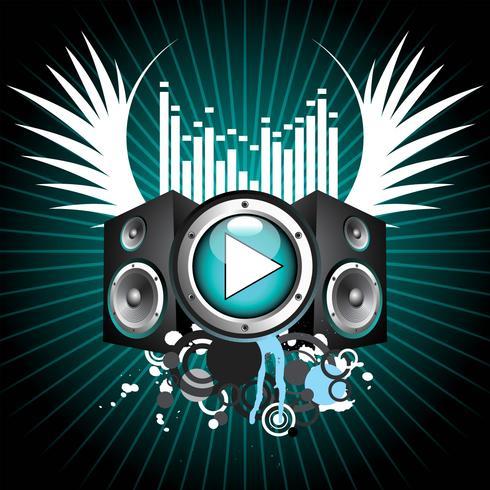 tema musical com alto-falantes e asa vetor