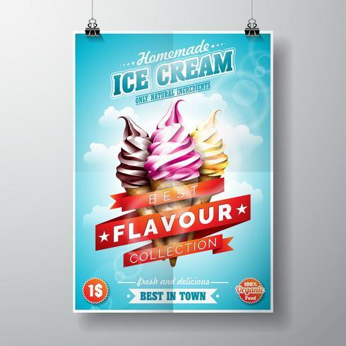 Vector delicioso sorvete Flyer Design no fundo do céu