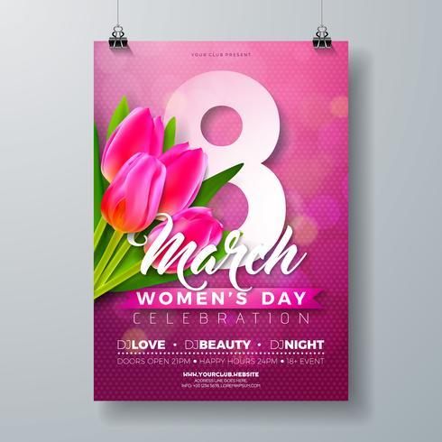 Ilustração de panfleto de festa de dia das mulheres vetor
