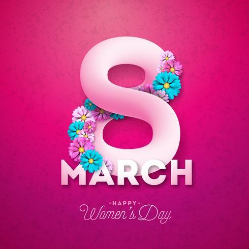 8 de março. Feliz dia das mulheres Floral saudação cartão vetor