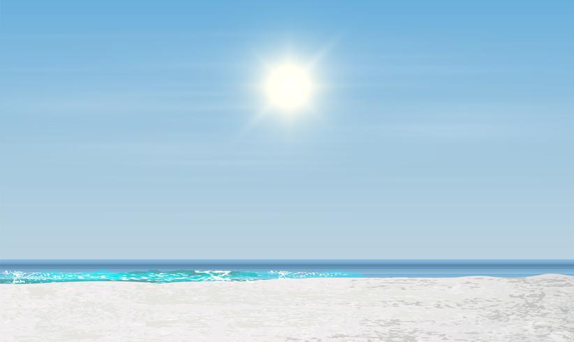 Paisagem realista de uma praia com pôr do sol / nascer do sol, ilustração vetorial vetor