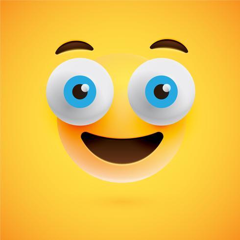 Emoticon amarelo realista na frente de um fundo amarelo, ilustração vetorial vetor