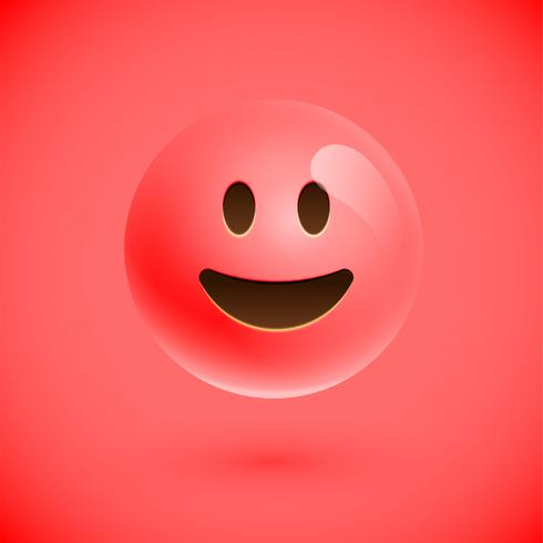 Emoticon realista vermelho emoticon, ilustração vetorial vetor