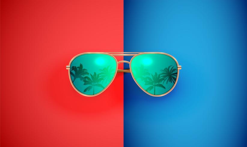 Óculos de sol vector realista sobre um fundo colorido, ilustração vetorial