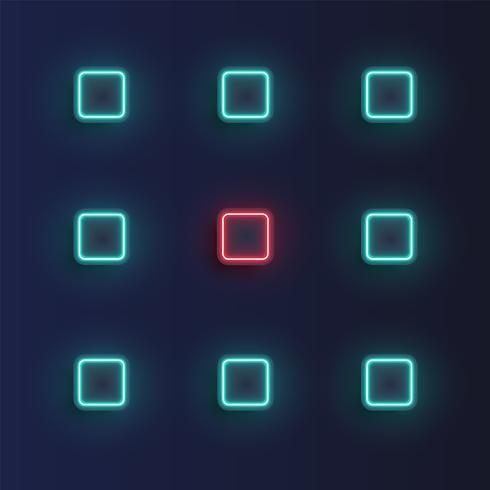 Fundo de botões de néon alta detalhado, ilustração vetorial vetor