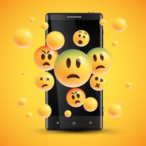 Realistas emoticons amarelos felizes na frente de um celular, ilustração vetorial vetor