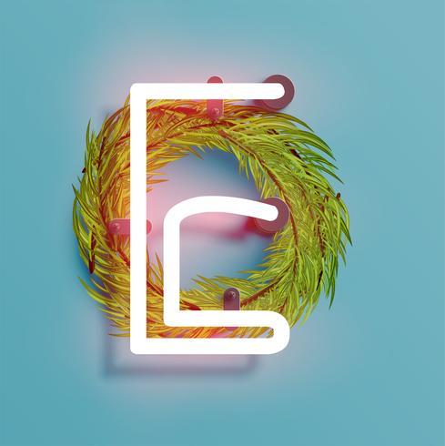 Fonte de néon de um fontset com pinho de decoração de Natal, ilustração vetorial vetor