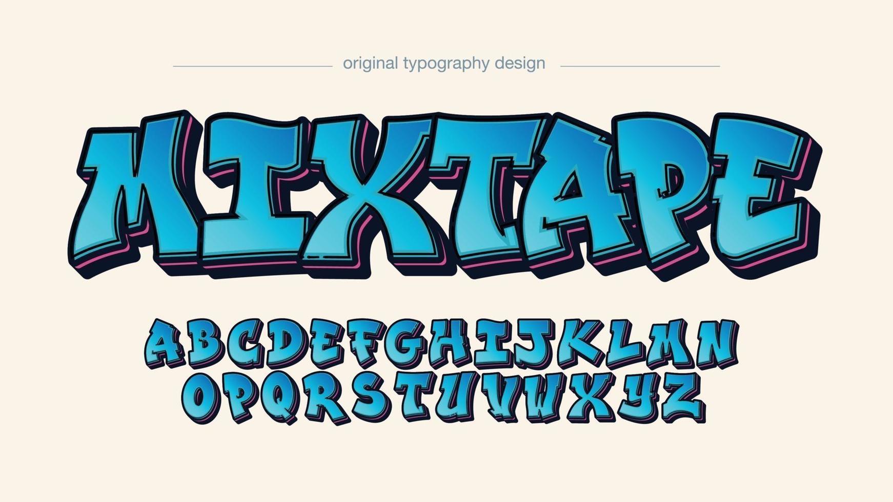 tipografia de grafite 3d azul vetor