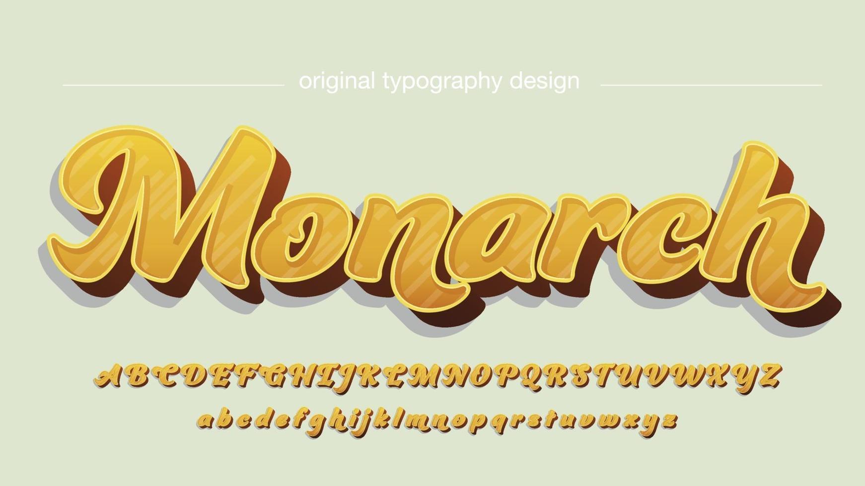 caligrafia elegante 3d amarela vetor
