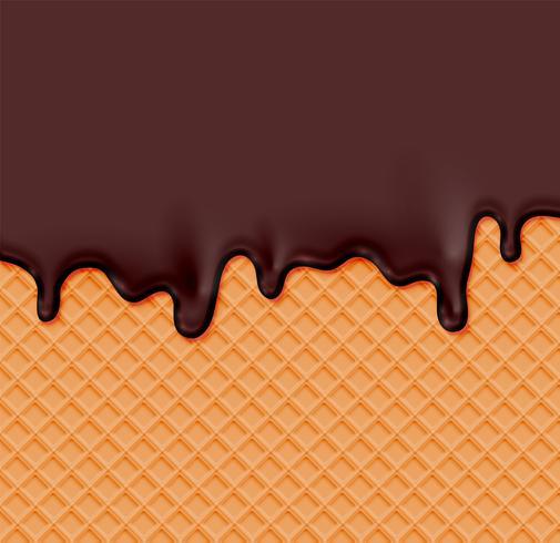 Waffle realista com creme de fusão nele, ilustração vetorial vetor