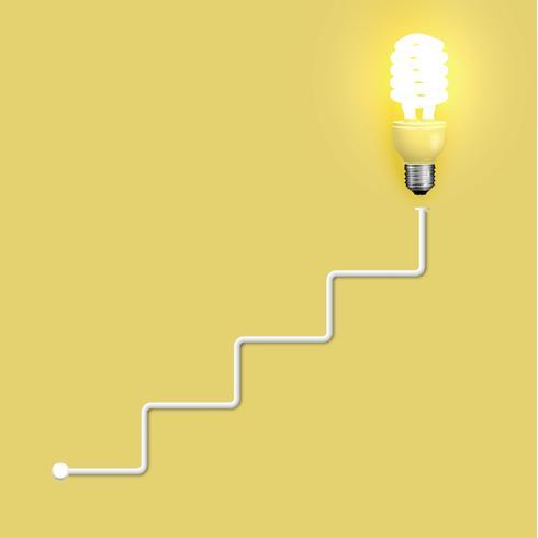 Lâmpada de poupança de energia com fios, ilustração vetorial vetor