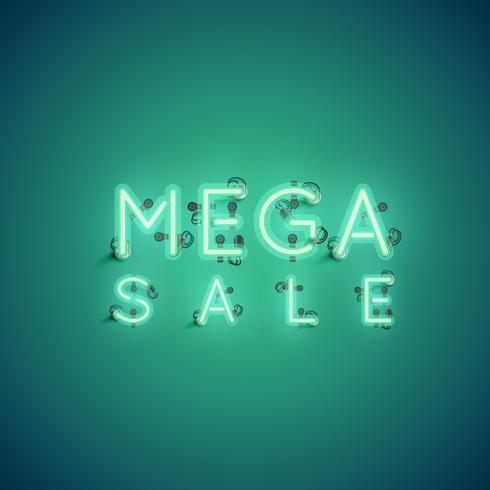 Sinal de néon de 'MEGA SALE', ilustração vetorial vetor
