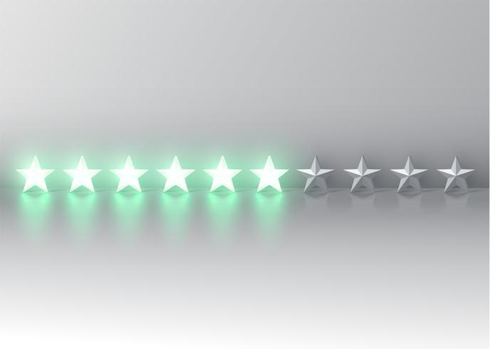 Classificação de estrelas 3D verde brilhante, vetor illustartion