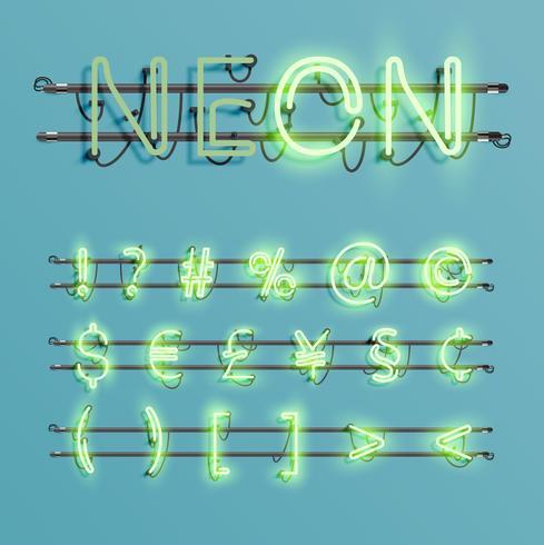 Fonte de néon realista com fios e console, ilustração vetorial vetor