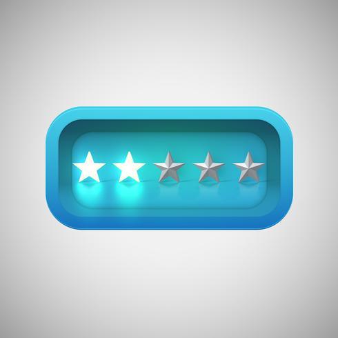 Classificação de estrelas azul brilhante em uma caixa brilhante realista, ilustração vetorial vetor