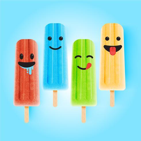 Emoticons engraçados na ilustração realista de sorvete, ilustração vetorial vetor