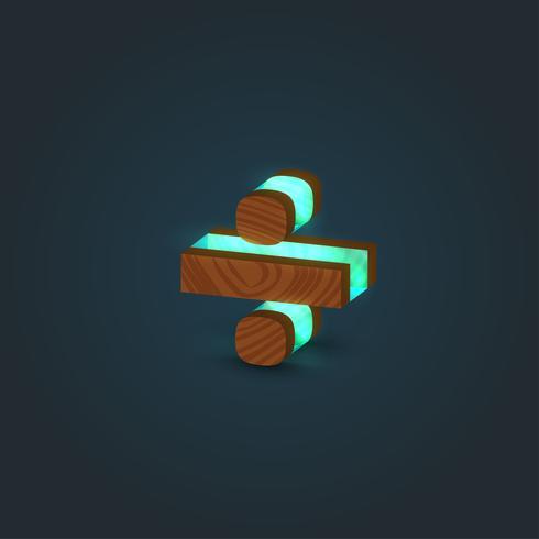 3D, realista, vidro e madeira personagem de um tipo de letra, vetor