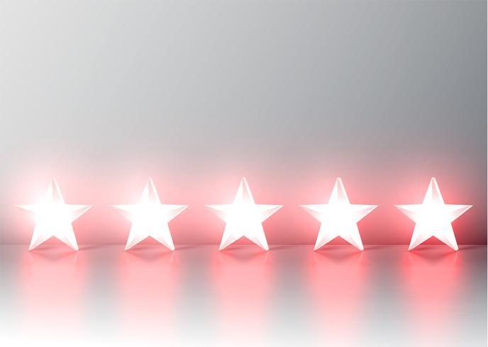 Classificação de estrelas 3D vermelha brilhante, vetor illustartion