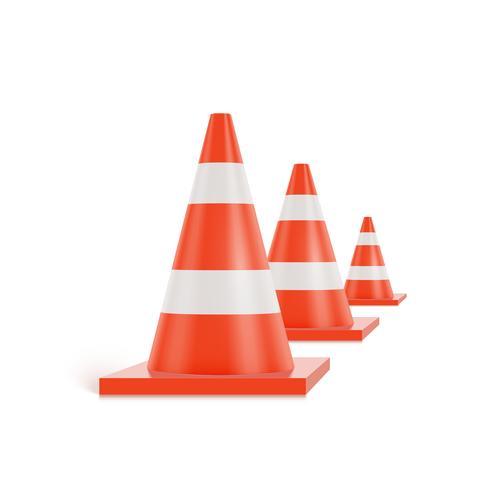 Cones de trânsito 3D com listras brancas e laranja em fundo branco, ilustração vetorial realista vetor