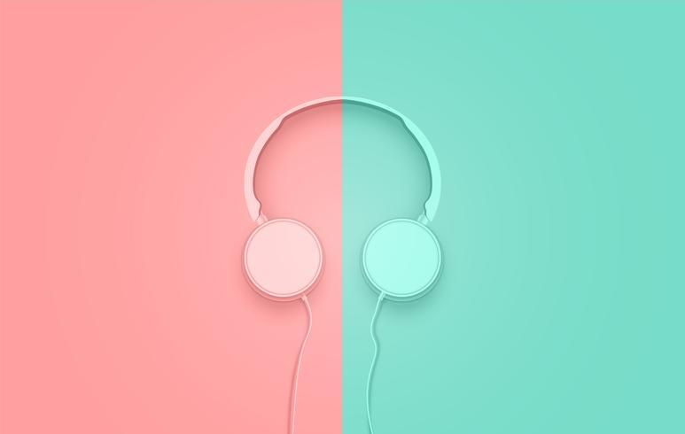 Realsitic 3D dividiu fones de ouvido em tons pastel com fios vetor