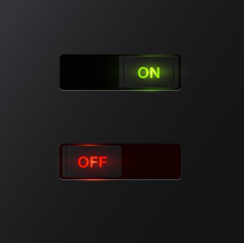 Interruptores realistas para uso na web, ilustração vetorial vetor