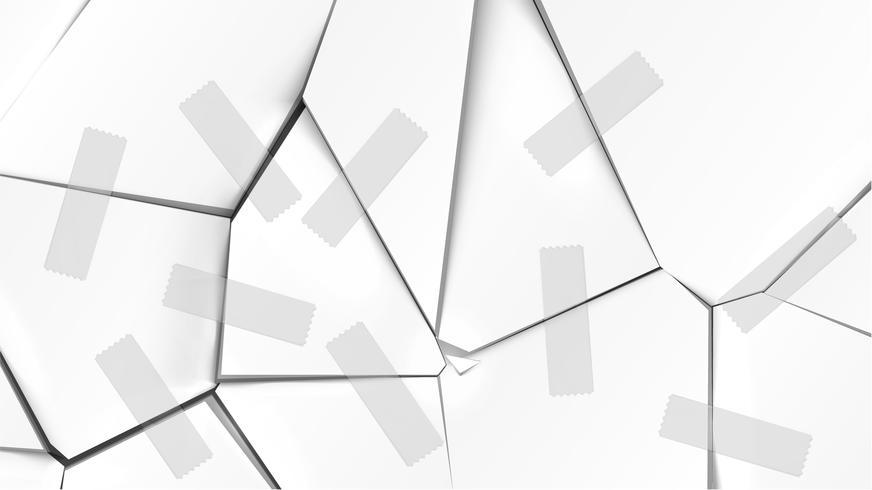 Superfície quebrada cinza com fitas, ilustração vetorial vetor