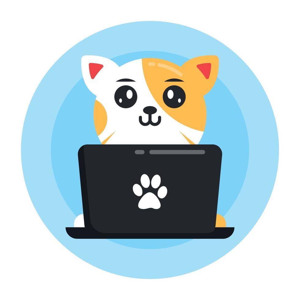 gato online trabalhando vetor