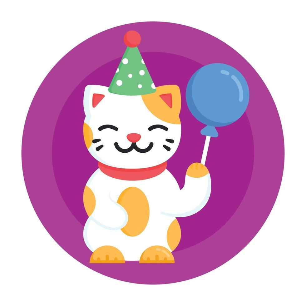 festa de aniversario de gato vetor