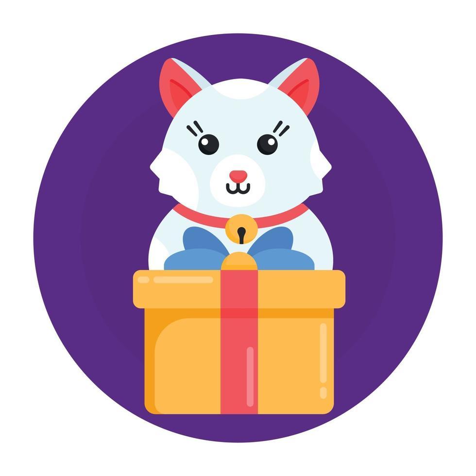 caixa de presente do gato vetor