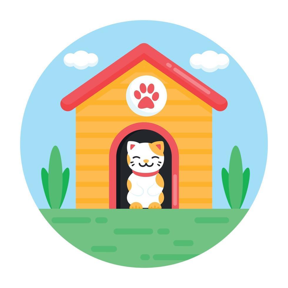 casa e residência do gato vetor