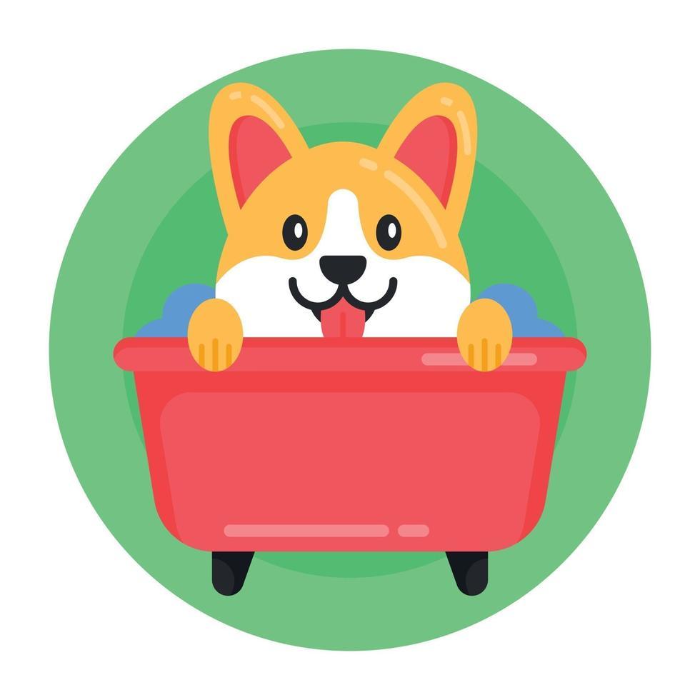 banho de cachorro e cachorrinho vetor